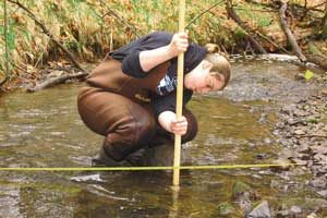 baseline testing streamflow by measuring the depth of the stream